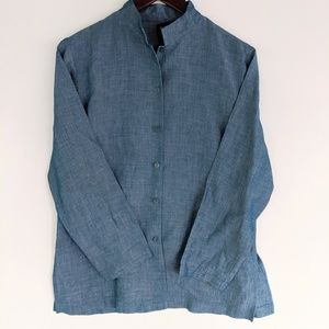 Eileen Fisher Blue Button Up Blouse